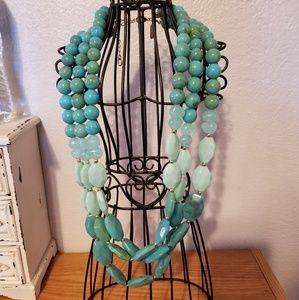 Turquoise blue 3-strand necklace